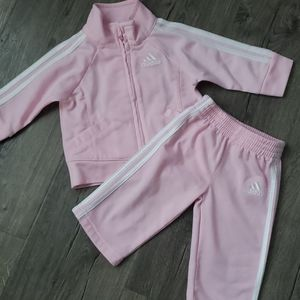 Baby girls pink Adidas track suit